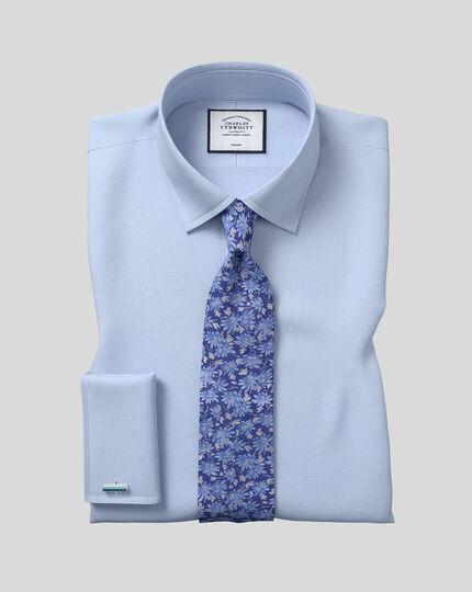 Silk Floral English Luxury Tie - Blue