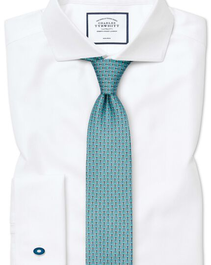Slim fit non-iron white herringbone shirt