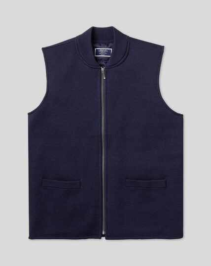 Merino Zip Through Gilet Bomber - Navy