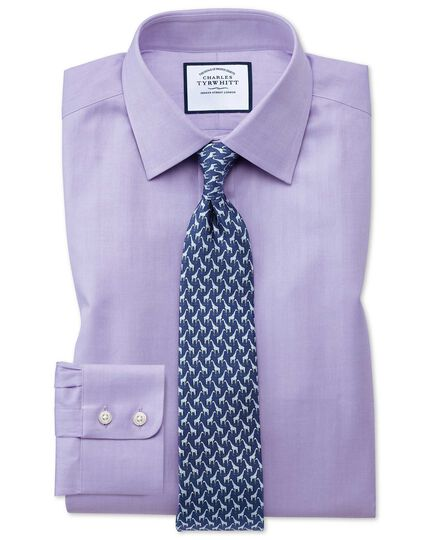 Slim fit fine herringbone lilac shirt