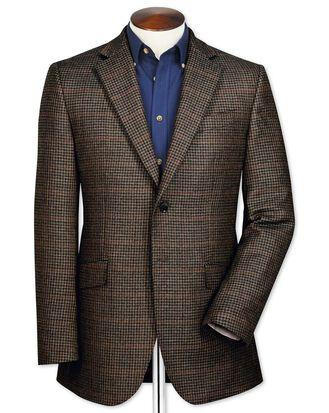Veste marron en laine d'agneau slim fit avec carreaux