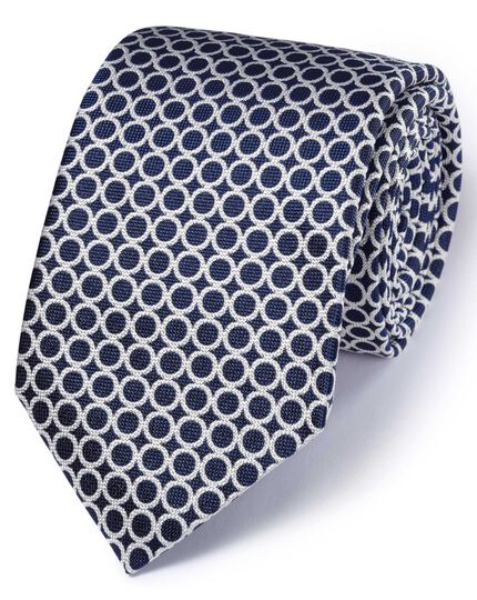 Navy and white silk English luxury end-on-end tie