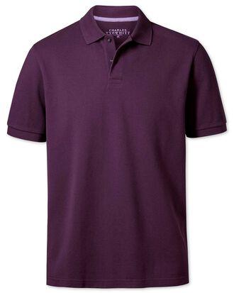 Classic fit purple pique polo shirt