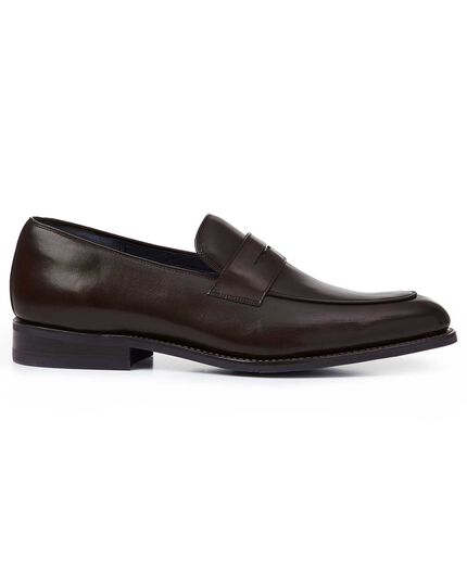 Brown Goodyear welted performance saddle loafer