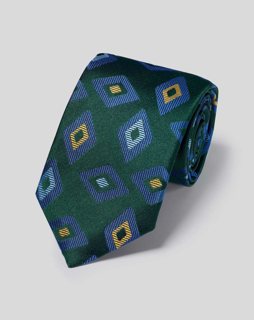 Englische Luxuskrawatte aus Seide mit geometrischem Diamantmuster - Grün & Blau