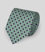 Cravate de luxe confection italienne coton et soie à imprimé - Vert clair