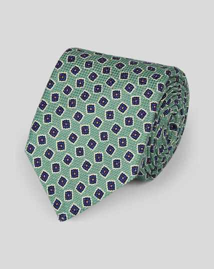 Cotton Silk Print Italian Craft Luxury Tie - Light Green