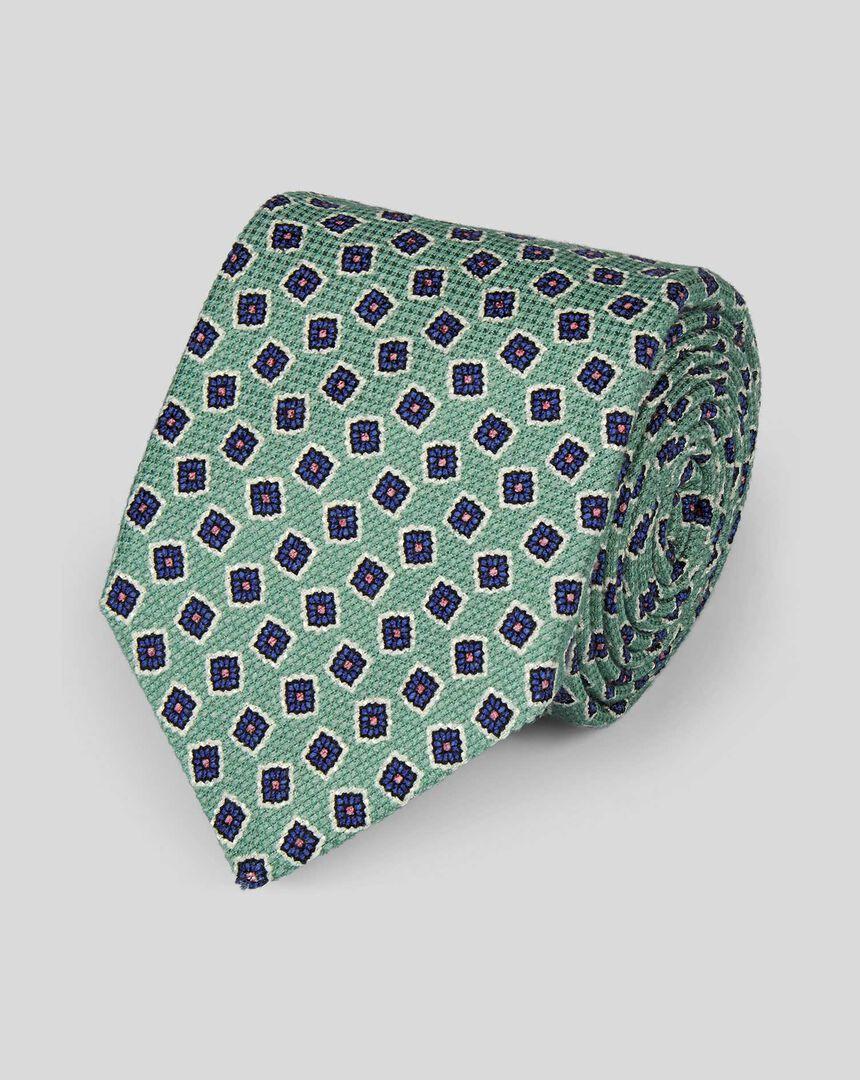 Cotton Silk Print Italian Craft Luxury Tie - Light Green