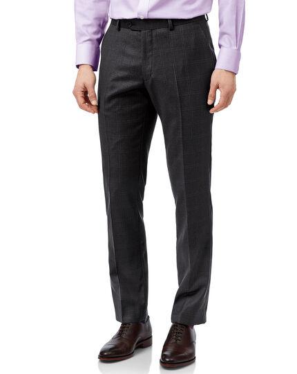 Grey check slim fit birdseye travel suit trouser