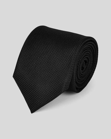 Stain Resistant Silk Textured Plain Classic Tie - Black