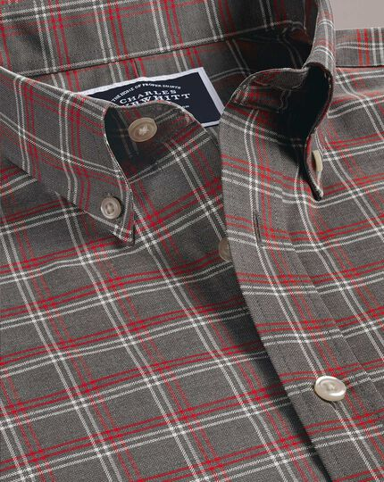 Extra slim fit non-iron grey check twill shirt