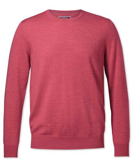 Coral merino crew neck sweater