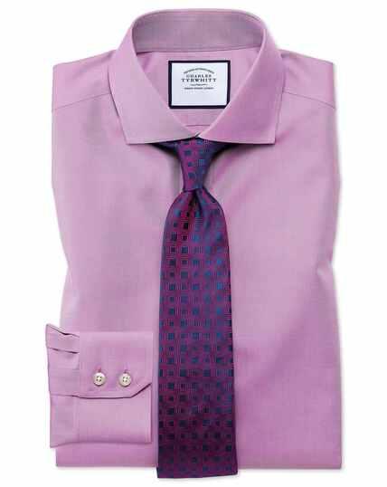 Chemise violette en twill slim fit à col cutaway sans repassage