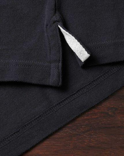 Navy pique long sleeve polo