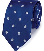 Royal and white silk English rose classic tie