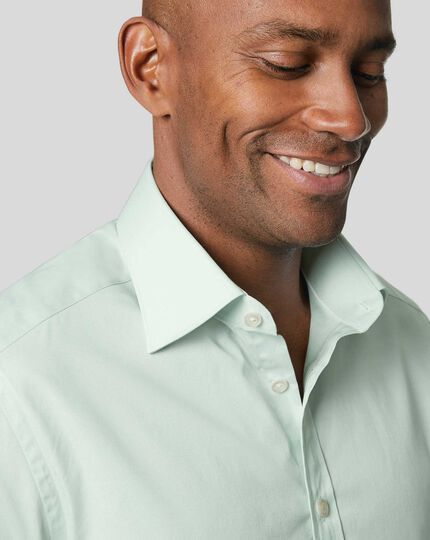 Semi-Spread Collar Egyptian Cotton Poplin Shirt - Green