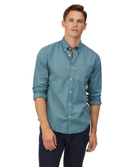 Extra slim fit soft washed stretch poplin green shirt
