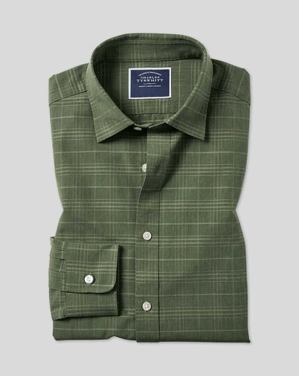 Classic Collar Tone-on-tone Check Shirt - Olive