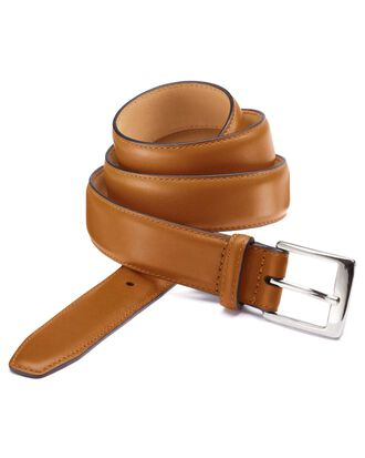 Tan leather dress belt