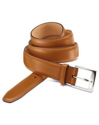 Tan leather dress belt