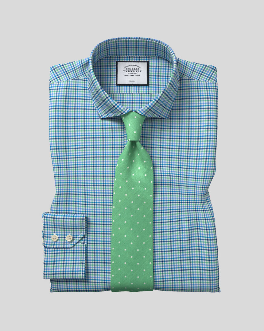 Cutaway Collar Non-Iron Tyrwhitt Cool Poplin Check Shirt - Green