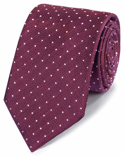 Burgundy and white stain resistant classic tie