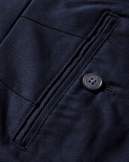 Pantalon bleu marine coupe droite en sergé de cavalerie stretch