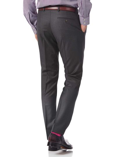 Grey slim fit Italian stripe suit trousers
