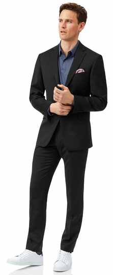 Black slim fit Italian natural stretch suit