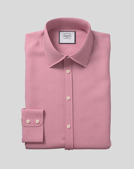 Classic Collar Egyptian Cotton Herringbone Shirt - Magenta