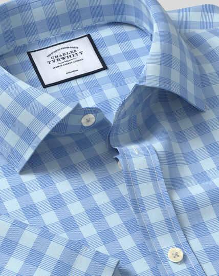Non-Iron Tyrwhitt Cool Poplin Short Sleeve Check Shirt - Sky