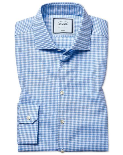 Super slim fit non-iron natural stretch textures sky blue shirt