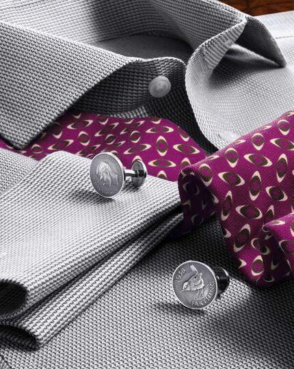 Slim fit cutaway collar non-iron grey shirt