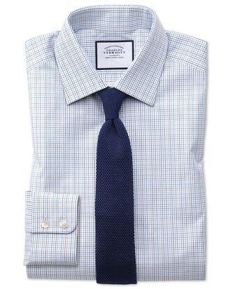 Extra slim fit blue multi check Egyptian cotton shirt