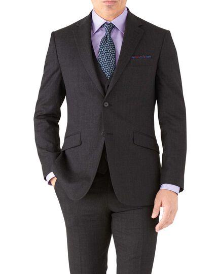Veste de costume business anthracite en twill slim fit avec motif milleraies