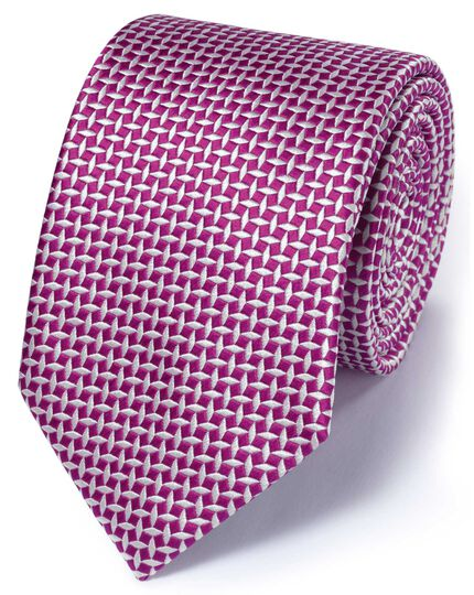 Fuchsia silk classic diamond lattice tie