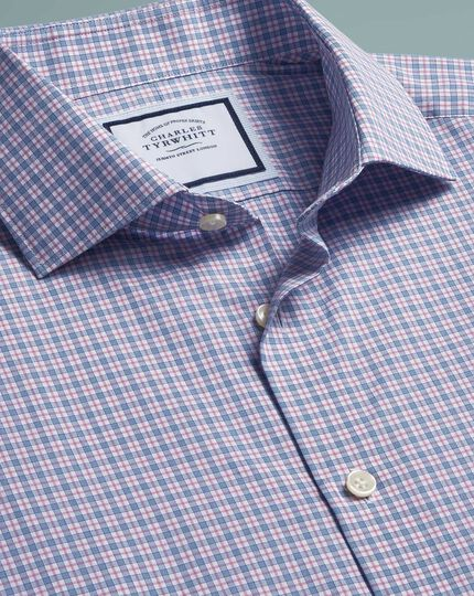 Classic fit peached Egyptian cotton pink and blue check shirt