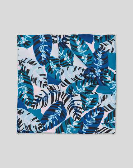 Tropical Leaf Print Pocket Square - Blue Multi