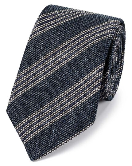 Navy and white linen mix grenadine stripe Italian luxury tie
