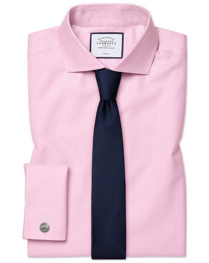 Extra slim fit cutaway pink non-iron twill shirt