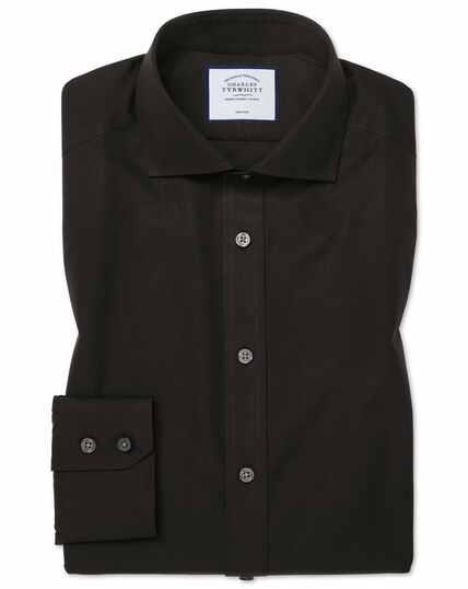Extra slim fit cutaway collar black non-iron poplin shirt