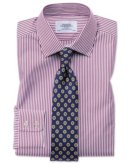 Classic fit Bengal stripe purple shirt