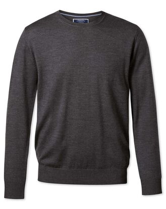 Charcoal merino wool crew neck sweater
