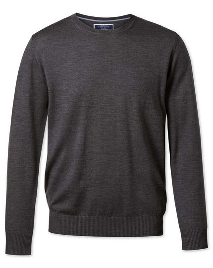 Charcoal merino wool crew neck jumper