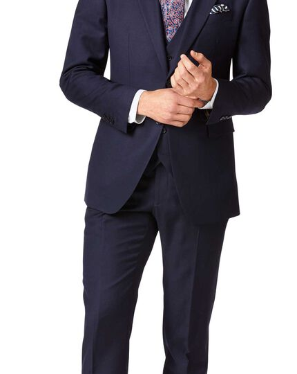Navy slim fit twill business suit jacket
