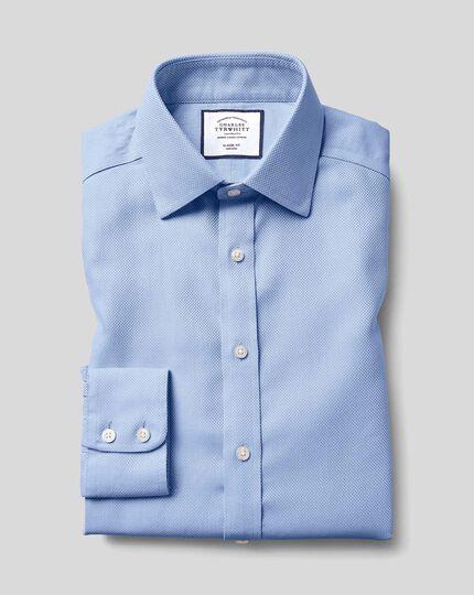 Chemise en tissage Buckingham à col classique sans repassage - Bleu