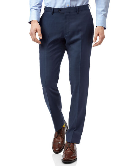 Blue slim fit twill business suit trousers