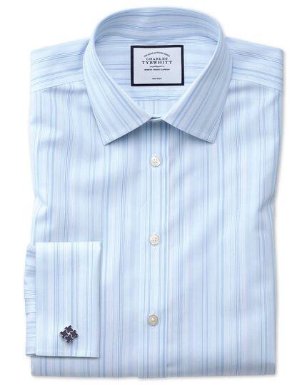 Bügelfreies Classic Fit Hemd mit bunten Streifen in Blau