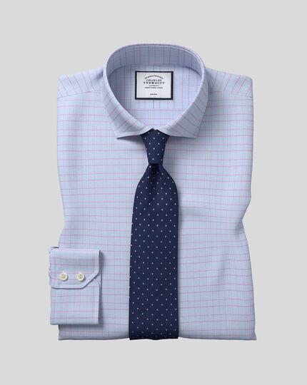 Chemise à carreaux Prince de Galles et col cutaway sans repassage - Bleu et rose