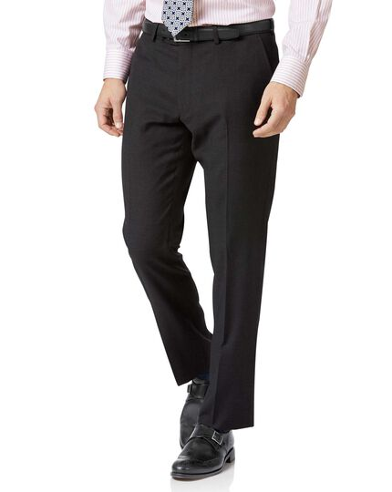Slim Fit Business Anzug Hose aus Twill in Anthrazit